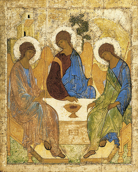 A medieval icon depicting the Trinity, painted by Andre Rublev c. 1400.