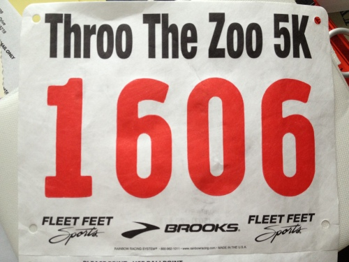 My bib from my first 5K in 2012
