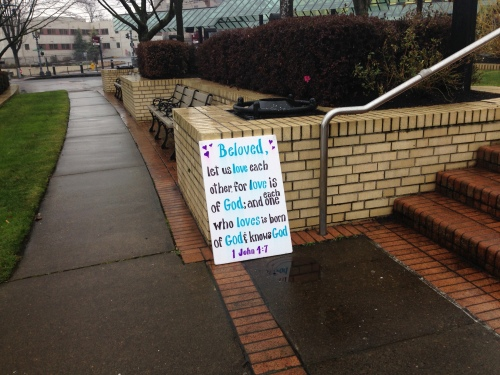 A sign left by the counter-protestors at the GCN  conference.